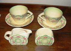 English Porcelain - CLARICE CLIFF Vintage 2 x Tea Cup and Saucer with sugar bowl and milk jar for sale in Bloemfontein (ID:218815043)