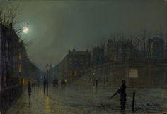 'View of Heath Street by Night', Atkinson Grimshaw, 1882 | Tate