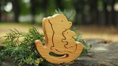 Wooden balance toy kids gifts bear mommy  baby Montessori