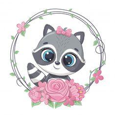 Cute Summer Baby Raccoon With Flower Wreath. Baby Animal Drawings, Cute Drawings, Cartoon Mignon, Baby Animals, Cute Animals, Art Mignon, Baby Raccoon, Clip Art, Cute Fox