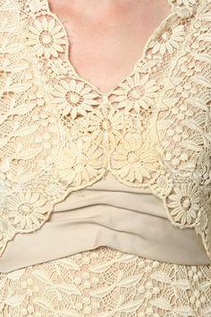 RESERVED Crochet Lace Dress 60s 70s Hippie Boho VICTOR COSTA Romantica Cream…