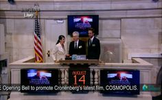 Robert Pattinson and David Cronenberg at the Wall Street Stock Exchange promoting 'Cosmopolis'