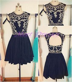 Black Homecoming Dresses Open Back Short Prom Gowns Backless With Cap Sleeves Silver Beading Homecoming Dress