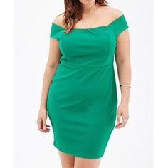 Emerald Green Dress Plus sized off the shoulder bodycon dress. Only worn once for a wedding. Forever 21 Dresses