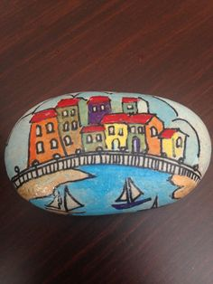 Painting on Stone Landscape Beach with by CreativeShopIdeas