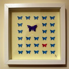 Butterflies - 3D - framed - card - personalised gift.  Homemade by Piminie!