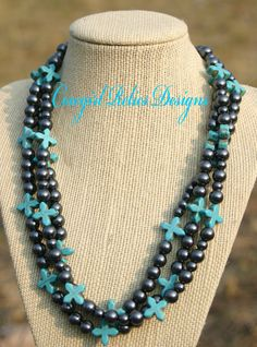3 Strand Gray Pearl and Turquoise Cross Western Cowgirl Necklace. $28.00, via Etsy.