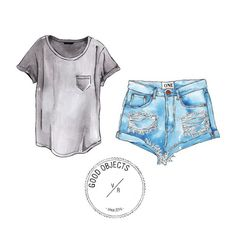 Good objects - Back to basics #todaysdenim #goodobjects Watercolor illustration