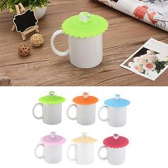 Crystal Antidust Silicone Glass Cup Cover Coffee Mug Suction Seal Lid Cap 5color
