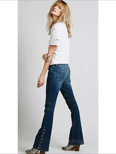 New $128 Free People Seamed Denim Flare Jeans Crate Blue SIZE 29 #FreePeople #Flare