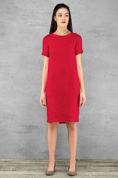 Linen dress deep red colour softened pre washed linen