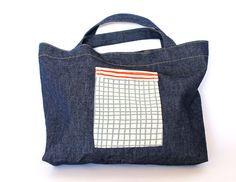 Denim lunch bag with Skinny laMinx DIY Square pocket