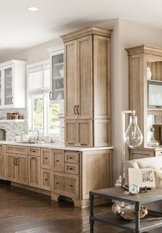 Home Remodeling Wood 44 Brilliant Kitchens Cabinets Design Ideas Vintage Kitchen Cabinets, Rustic Kitchen Island, Kitchen Cabinets In Bathroom, Kitchen Cabinet Design, Kitchen Decor, Kitchen Ideas, Rustic Wood Cabinets, Natural Wood Kitchen Cabinets, Hickory Kitchen Cabinets