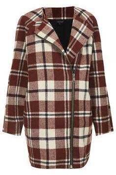 collarless check wool jacket