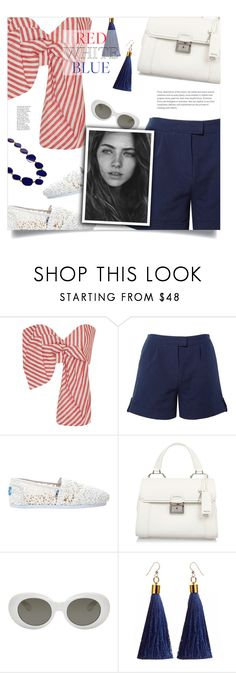 """Red, White & Blue: Celebrate the 4th!"" by loloksage ❤ liked on Polyvore featuring Johanna Ortiz, Related, TOMS, Miu Miu, Acne Studios and Kenneth Jay Lane"