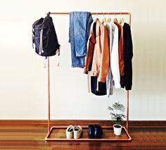 Clothes rack / 100cm long / Industrial design copper pipe clothing rack/ Garment hanger