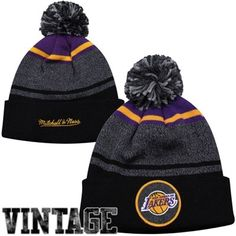 Mitchell & Ness Los Angeles Lakers Cuffed Knit Hat with Pom - Black/Purple