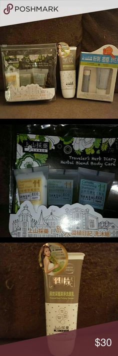 Tsaio skincare lot/Taiwanese skincare Up for sale is a lot of three Taiwanese skincare products from Tsaio. All items are brand new and never been used. Great for acne prone or oily/combination skin.  **Charcoal Deep Purifying Cleanser 3.52 oz **Traveler's Herb Diary Body Care Kit 1 oz/ea       -Organic Camomilla facial wash foam        -Organic Scutellaria Firming body wash       -Organic Camellia Nourishing shampoo **Pore Clear Treatment Set        -Papain remove mask 1.05 Oz       -Pimple…