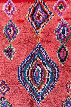 "Vintage Moroccan Boucherouite Ourika Rug, ""The Jade,"" Berber Rug, Pink Red Rug, Geometric Pattern, C Textiles, Red Rugs, Berber Rug, Moroccan, Blankets, Jade, Bohemian Rug, Sweet Home, Fabrics"