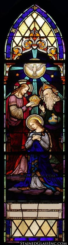 """""""The Crowning of the Virgin"""" Religious Stained Glass Window"""