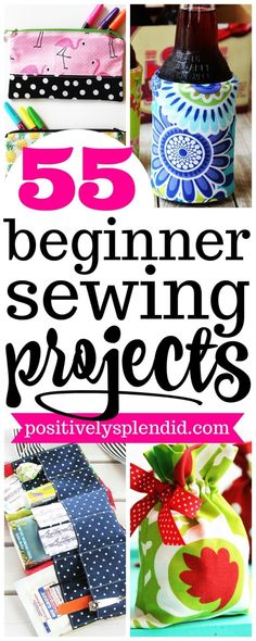 Sewing 101 These 55 easy sewing projects for beginners are a great way to practice your sewing skills while making something fun! This collection of free sewing patterns is perfect for beginners and experienced sewers alike! Easy Sewing Projects, Sewing Projects For Beginners, Sewing Hacks, Sewing Tutorials, Sewing Crafts, Craft Projects, Diy Crafts, Sewing Tips, Sewing Machine Projects