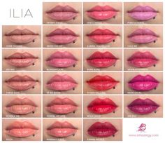 ILIA Beauty all colours shown on lips- Ilia is an awesome lipcolor line. And the ingredients in their products are MUCH safer than most cosmetic lines. Beautiful colors. They have Lip Conditioners as well that are more sheer and moist.
