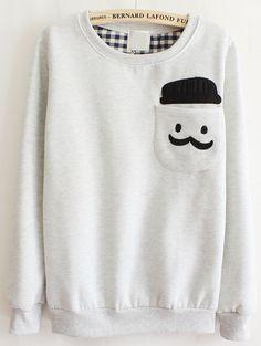 Grey Long Sleeve Cartoon Pocket Sweatshirt US$21.97