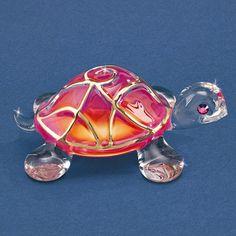 Sunrise Turtle Glass Figurine w/ Swarovski Elements