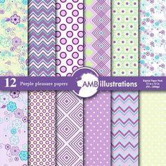 Purple digital papers, Floral Patterned, Geometric scrapbook paper, Backgrounds…