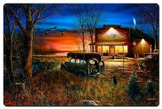 Patiently Waiting by Jim Hansel, Satin Finish Art on Metal, Cabin Lodge Country home decor wall art, FREE Shipping by HomeDecorGarageArt on Etsy