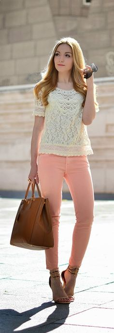 Stlye Me Hip: Chic Lace Top with Pastel Denim | Spring Street Ou...