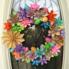 15 Easter Origami Paper Flower Wreath  by CaitJaneCreations