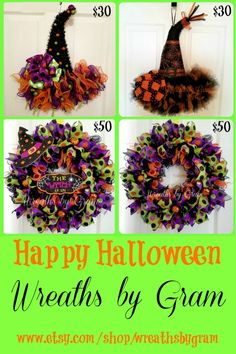 Halloween wreath MAKE DONUTS INTO WITCH HATS
