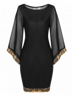 Black Meaneor Womens Flare Sleeve Sequined Trim Cocktail Bodycon Mini Pencil Party Dresses