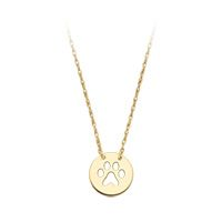 Paw Print Disc Necklace in 14K Yellow Gold
