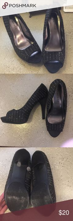 """Black rhinestone Rampage heels women's 7.5 Black rhinestone Rampage heels women's 7.5. 4 1/2 """" heel with 1/2"""" platform. Worn once or twice. A few stones missing on the sides but not noticeable Rampage Shoes Heels"""