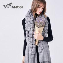 VIANOSI Women Winter Real Fur Scarf Collarfur Shawl Fashion 100% Wool Scarf Luxury Poncho Top Quality Female Brand Scarf VA201(China)