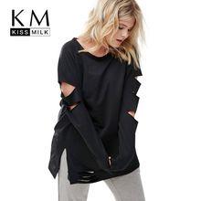 Kissmilk Плюс Размер Новая Мода Женская Одежда Повседневная Черный Насыщенный топы Сплит С Длинным Рукавом Большой Размер Sweatershirt 3XL 4XL 5XL 6XL