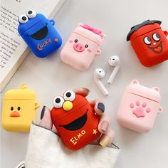 Cartoon Cute Wireless Bluetooth Earphone Case for Apple AirPods Silicone Charging Headphones Cases for Airpods 1 2 Case Elmo Cookies, Pink Smokey Eye, Airpods Apple, Accessoires Iphone, Wallpaper Aesthetic, Earphone Case, Air Pods, Ipod Cases, Cute Cases