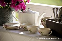 vintage dishes for tea on the back porch