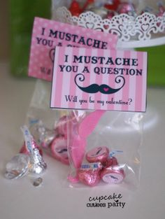 Cupcake Cutiees: Mustache Girls Valentine DIY Card  Candy Kisses Set- PARTY STORE