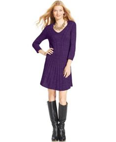76a7097eb03 NY Collection Cable-Knit Fit   Flare Sweater Dress Women - Dresses - Macy s