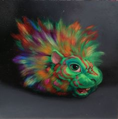 Laurie Hogin - Untitled Guinea Pig #2, oil on panel, 6x6