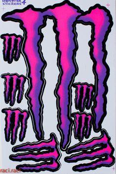 Pink Purple Monster Energy Claws Sticker Decal Supercross Motocross Bike ATV BMX Racing Skateboard Helmut P1