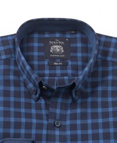 Blue Navy Brushed Twill Check Slim Fit Casual Shirt