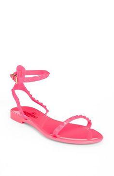Valentino 'Rockstud' Ankle Strap Sandal Fuchsia