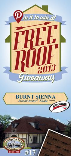Re-pin this gorgeous StormMaster Shake Burnt Sienna Shingle for your chance to win in the Sherriff-Goslin Pin It To Win It FREE ROOF Giveaway. Available in Sherriff-Goslin service area only. Re-pin weekly for more chances to win! | Stay Updated! Click the following link to receive contest updates. http://www.sherriffgoslin.com/repin Learn More about this shingle here: http://www.sherriffgoslin.com/tabbed.php?section_url=142