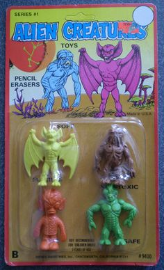 Vintage Diener Alien Creatures Toy Pencil Erasers MOC by gregg_koenig, via… Creepy Toys, Weird Toys, Toy Packaging, Vintage Packaging, 1970s Toys, 1980s, Monster Toys, Pencil Eraser, Alien Creatures