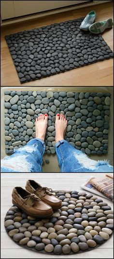 What's great about this doormat is that water evaporates fast (depending on the materials that you use), preventing odor from building up. It's also easier to clean as opposed to fabric door mats — simply wash it usin Cool Doormats, Creation Deco, Stone Crafts, Diy Décoration, Pebble Art, Stone Art, Easy Diy Projects, Craft Projects, Projects To Try