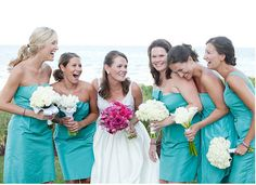 blue dresses with white bouquets